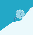 Business man pushing a huge clock up hill vector