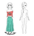 Hand drawn fashion girl woman vector