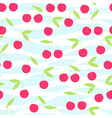Seamless cherry pattern on striped vector