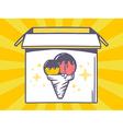 Open box with icon of ice cream on yello vector