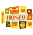 Background design with honey and bee objects vector