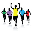 A group of runners vector