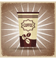 Plastic cup of coffee on a vintage background vector