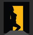 Girl silhouette at the door vector