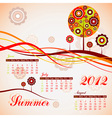 Tree summer calendar 2012 vector