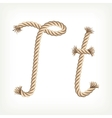 Rope alphabet letter t vector