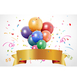 Colorful birthday celebration with balloon and rib vector