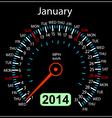 2014 year calendar speedometer car in january vector