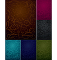 Abstract ornament bacgrounds set six colors vector