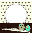 Template greeting card with brown hearts and two vector