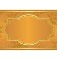 Orange card with golden frame vector