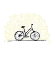 Sketch of bicycle on ornamental wall for your vector