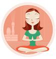 Yoga woman in lotus poses vector