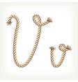 Rope alphabet letter v vector