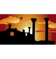 Ruins sunset vector