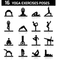 Yoga exercises icons black vector