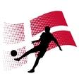 Denmark soccer player against national flag vector
