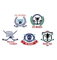 Ice hockey emblem symbol set vector