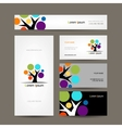 Business cards collection with abstract tree for vector