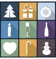 Christmas flat icons in nine vector