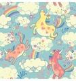 Cute seamless pattern with rainbow unicorns vector