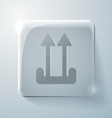 Glass square icon arrow up vector