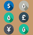 Flat icons exchange rates long shadows vector