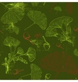 Pattern with green ginkgo leaves vector