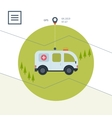 Ambulance car icon in flat design style vector