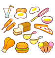 A wide variety of foods icons sets vector