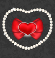 Red heart with bow and pearls for valentine day vector