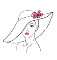 A sketch of the woman in a hat with flower vector