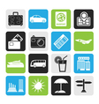 Silhouette travel and vacation icons vector