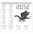 2012 year calendar with black origami dragon vector