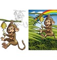 Monkey on a palm vector