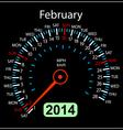 2014 year calendar speedometer car in february vector