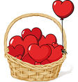 Basket full of love - hearts vector