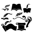 Old books parchment reading and writing symbols vector