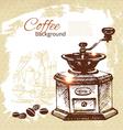 Hand drawn vintage coffee background vector