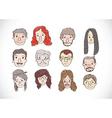 Set of various cartoon faces vector