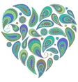 Paisley heart in turquoise and aqua colors vector
