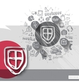 Hand drawn shield icons with icons background vector
