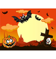 Halloween background with pumpkin in the grass vector