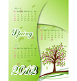 Floral tree spring calendar 2012 vector