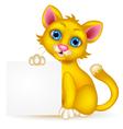 Cute cat cartoon with blank sign vector