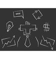 Blackboard line art business icons vector