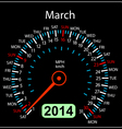 2014 year calendar speedometer car in march vector