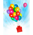 Holiday background with colorful balloons and gift vector