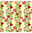 Seamless pattern with vertical lines of red roses vector