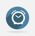 Alarm clock circle blue icon with shadow vector